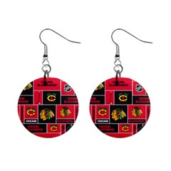 Chicago Blackhawks Nhl Block Fleece Fabric Mini Button Earrings