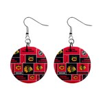 Chicago Blackhawks Nhl Block Fleece Fabric Mini Button Earrings Front