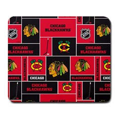 Chicago Blackhawks Nhl Block Fleece Fabric Large Mousepads