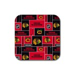 Chicago Blackhawks Nhl Block Fleece Fabric Rubber Coaster (Square)  Front