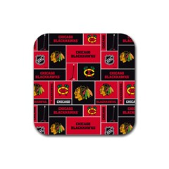 Chicago Blackhawks Nhl Block Fleece Fabric Rubber Square Coaster (4 pack)