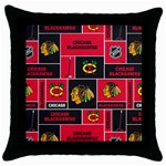 Chicago Blackhawks Nhl Block Fleece Fabric Throw Pillow Case (Black) Front