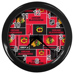 Chicago Blackhawks Nhl Block Fleece Fabric Wall Clocks (Black)