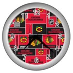 Chicago Blackhawks Nhl Block Fleece Fabric Wall Clocks (Silver)  Front