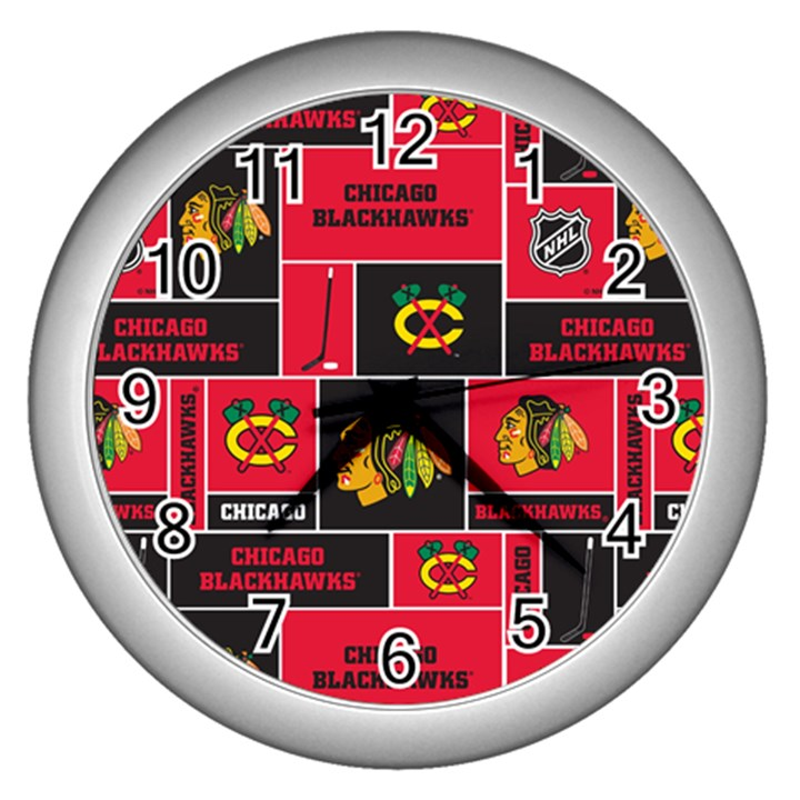 Chicago Blackhawks Nhl Block Fleece Fabric Wall Clocks (Silver)