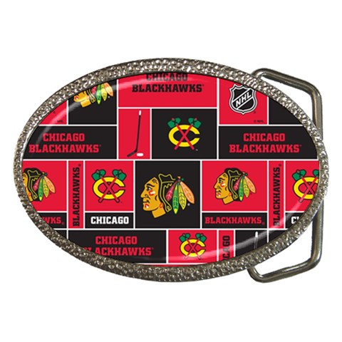 Chicago Blackhawks Nhl Block Fleece Fabric Belt Buckles