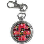 Chicago Blackhawks Nhl Block Fleece Fabric Key Chain Watches Front