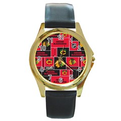 Chicago Blackhawks Nhl Block Fleece Fabric Round Gold Metal Watch