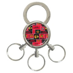 Chicago Blackhawks Nhl Block Fleece Fabric 3-Ring Key Chains