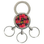 Chicago Blackhawks Nhl Block Fleece Fabric 3-Ring Key Chains Front
