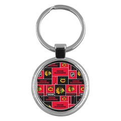 Chicago Blackhawks Nhl Block Fleece Fabric Key Chains (Round)