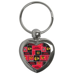 Chicago Blackhawks Nhl Block Fleece Fabric Key Chains (Heart)