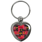 Chicago Blackhawks Nhl Block Fleece Fabric Key Chains (Heart)  Front