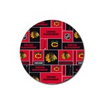 Chicago Blackhawks Nhl Block Fleece Fabric Rubber Coaster (Round)  Front