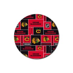 Chicago Blackhawks Nhl Block Fleece Fabric Rubber Round Coaster (4 pack)