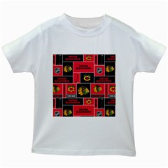 Chicago Blackhawks Nhl Block Fleece Fabric Kids White T-Shirts