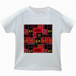 Chicago Blackhawks Nhl Block Fleece Fabric Kids White T-Shirts Front