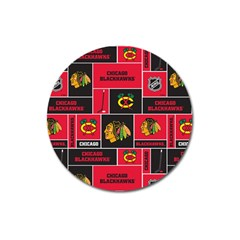 Chicago Blackhawks Nhl Block Fleece Fabric Magnet 3  (Round)
