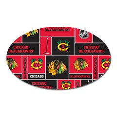 Chicago Blackhawks Nhl Block Fleece Fabric Oval Magnet