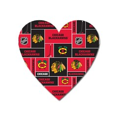 Chicago Blackhawks Nhl Block Fleece Fabric Heart Magnet