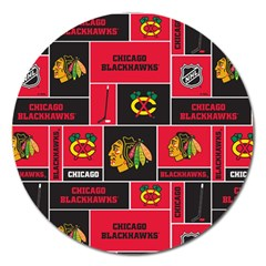 Chicago Blackhawks Nhl Block Fleece Fabric Magnet 5  (Round)