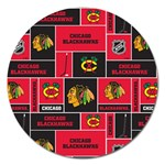 Chicago Blackhawks Nhl Block Fleece Fabric Magnet 5  (Round) Front