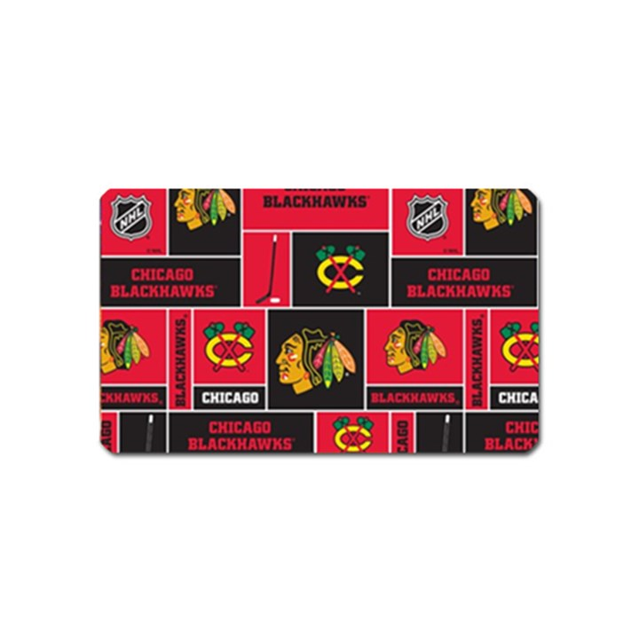 Chicago Blackhawks Nhl Block Fleece Fabric Magnet (Name Card)