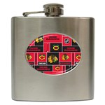 Chicago Blackhawks Nhl Block Fleece Fabric Hip Flask (6 oz) Front