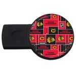 Chicago Blackhawks Nhl Block Fleece Fabric USB Flash Drive Round (1 GB)  Front