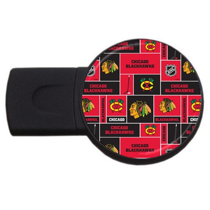 Chicago Blackhawks Nhl Block Fleece Fabric USB Flash Drive Round (1 GB)