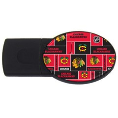 Chicago Blackhawks Nhl Block Fleece Fabric USB Flash Drive Oval (2 GB)