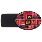 Chicago Blackhawks Nhl Block Fleece Fabric USB Flash Drive Oval (2 GB)  Front