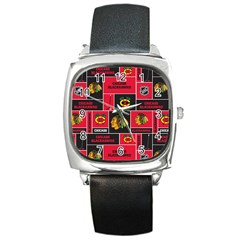 Chicago Blackhawks Nhl Block Fleece Fabric Square Metal Watch
