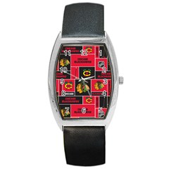 Chicago Blackhawks Nhl Block Fleece Fabric Barrel Style Metal Watch