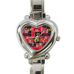 Chicago Blackhawks Nhl Block Fleece Fabric Heart Italian Charm Watch Front