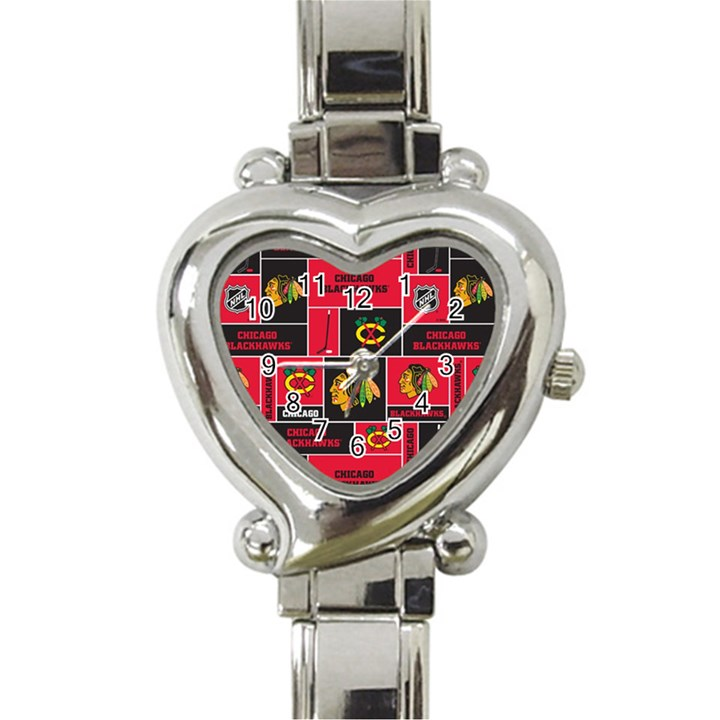 Chicago Blackhawks Nhl Block Fleece Fabric Heart Italian Charm Watch