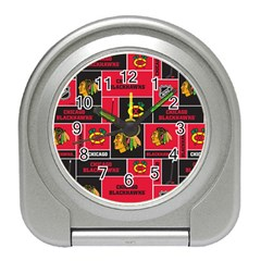 Chicago Blackhawks Nhl Block Fleece Fabric Travel Alarm Clocks