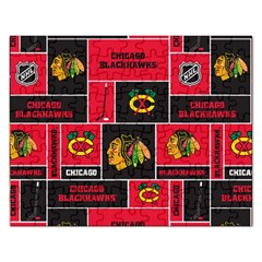 Chicago Blackhawks Nhl Block Fleece Fabric Rectangular Jigsaw Puzzl