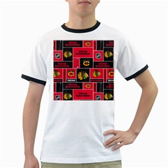 Chicago Blackhawks Nhl Block Fleece Fabric Ringer T-Shirts