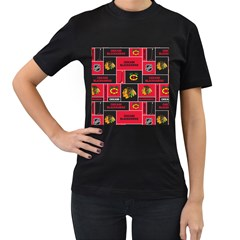 Chicago Blackhawks Nhl Block Fleece Fabric Women s T-Shirt (Black) (Two Sided)