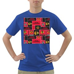 Chicago Blackhawks Nhl Block Fleece Fabric Dark T-Shirt