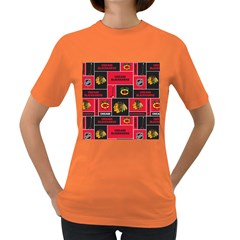 Chicago Blackhawks Nhl Block Fleece Fabric Women s Dark T-Shirt