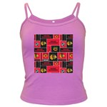 Chicago Blackhawks Nhl Block Fleece Fabric Dark Spaghetti Tank Front