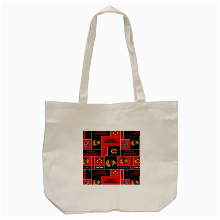 Chicago Blackhawks Nhl Block Fleece Fabric Tote Bag (Cream)