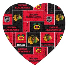 Chicago Blackhawks Nhl Block Fleece Fabric Jigsaw Puzzle (Heart)