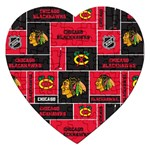 Chicago Blackhawks Nhl Block Fleece Fabric Jigsaw Puzzle (Heart) Front