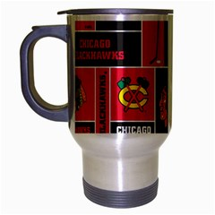 Chicago Blackhawks Nhl Block Fleece Fabric Travel Mug (Silver Gray)