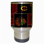Chicago Blackhawks Nhl Block Fleece Fabric Travel Mug (Silver Gray) Center