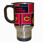 Chicago Blackhawks Nhl Block Fleece Fabric Travel Mugs (White) Left
