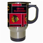 Chicago Blackhawks Nhl Block Fleece Fabric Travel Mugs (White) Right